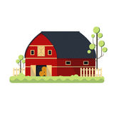 Farming barn flat for storing hay - vector illustration. Red ranch fence tree Royalty Free Stock Photography