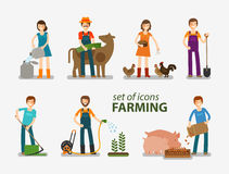 Farming and cattle breeding set of icons. People at work on the farm. Vector illustration Royalty Free Stock Photography