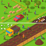 Farming Concept 2 Isometric Banners Set Royalty Free Stock Photo
