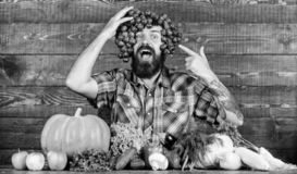 Farming concept. Man hold grapes wooden background. Farmer bearded guy with homegrown harvest grapes put on head. Farmer. Proud of grapes harvest. Fresh organic stock photos