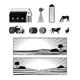 Farming and countryside set with farmland landscapes and various rural stuff and animals. Farming and countryside set with farmland landscapes and various rural stock illustration