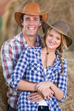 Farming couple barn Royalty Free Stock Image
