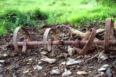 Farming cultivator from a bygone era. This antique farming cultivator is quietly rusting in a forgotten corner of the farm. It is a metaphor of times gone by and stock photography