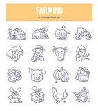 Farming Doodle Icons. Agriculture and farming doodle icons collection. Village farm, farmers, livestock and organic food. Vector hand drawn illustrations for vector illustration