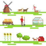 Farming Elements In Geometric Style Set Of Illustrations Royalty Free Stock Photos