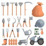 Farming equipment icon set, cartoon style vector illustration