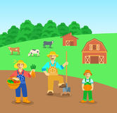 Farming family in farm field flat background. Farming family standing in farm field. Flat vector background. Mother with vegetables, father with a shovel, son Stock Photos