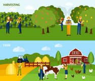 Farming 2 flat horizontal banners composition Stock Photo
