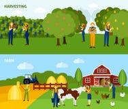 Farming 2 flat horizontal banners composition Stock Photo