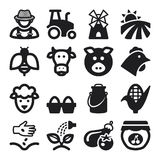 Farming flat icons. Black Royalty Free Stock Photo