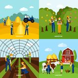 Farming 4 flat icons square poster Royalty Free Stock Photos