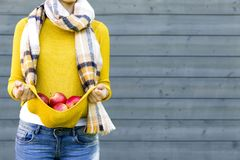 Farming, gardening, harvesting, fall and people concept - woman with apples at autumn garden Royalty Free Stock Photography