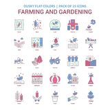Farming and Gardening icon Dusky Flat color - Vintage 25 Icon Pa. Ck - This Vector EPS 10 illustration is best for print media, web design, application design stock illustration