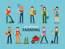 Farming and gardening icon set. People at work on the farm. Vector illustration vector illustration