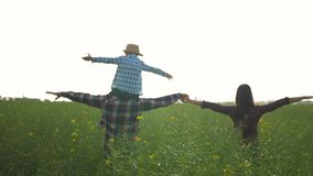 Farming, happy male with child boy on shoulders and woman walk with arms to side in green rapeseed field against sky stock video