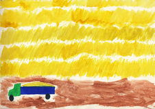 Farming the harvest of grain. Children drawing watercolor. Stock Image