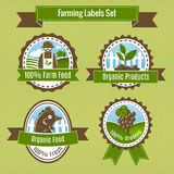 Farming harvesting and agriculture badges or labels set Royalty Free Stock Photography