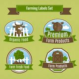 Farming harvesting and agriculture badges Royalty Free Stock Photos