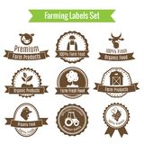 Farming harvesting and agriculture badges or labels set Stock Photo
