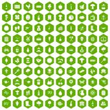 100 farming icons hexagon green. 100 farming icons set in green hexagon isolated vector illustration Royalty Free Stock Photo