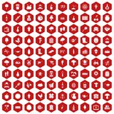 100 farming icons hexagon red Royalty Free Stock Image
