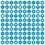100 farming icons sapphirine violet. 100 farming icons set in sapphirine hexagon isolated vector illustration Vector Illustration