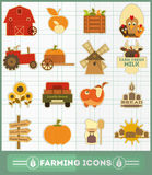 Farming Icons Set Stock Photo