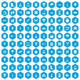 100 farming icons set blue. 100 farming icons set in blue hexagon isolated vector illustration vector illustration