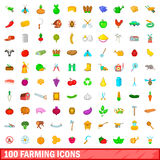 100 farming icons set, cartoon style Stock Images