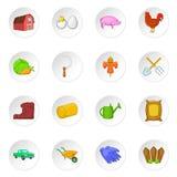 Farming icons set, cartoon style Royalty Free Stock Photos