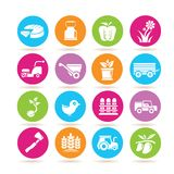 Farming icons. Set of 16 farming icons in colorful buttons royalty free illustration
