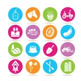 Farming icons. Set of 16 farming icons in colorful buttons stock illustration