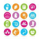 Farming icons. Set of 16 farming icons in colorful buttons vector illustration