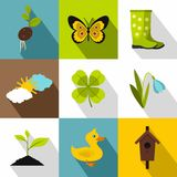 Farming icons set, flat style. Farming icons set. Flat illustration of 9 farming vector icons for web Stock Photo
