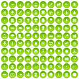 100 farming icons set green. 100 farming icons set in green circle isolated on white vectr illustration royalty free illustration