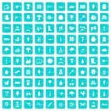100 farming icons set grunge blue. 100 farming icons set in grunge style blue color isolated on white background vector illustration vector illustration