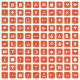 100 farming icons set grunge orange. 100 farming icons set in grunge style orange color isolated on white background vector illustration Stock Images
