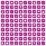 100 farming icons set grunge pink. 100 farming icons set in grunge style pink color isolated on white background vector illustration Royalty Free Stock Image