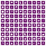 100 farming icons set grunge purple. 100 farming icons set in grunge style purple color isolated on white background vector illustration Stock Image