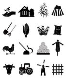 Farming Icons. Set of farming and harvesting related icons set in black royalty free illustration