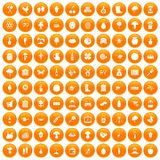 100 farming icons set orange. 100 farming icons set in orange circle isolated on white vector illustration Vector Illustration