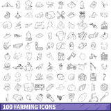 100 farming icons set, outline style. 100 farming icons set in outline style for any design vector illustration Royalty Free Stock Images