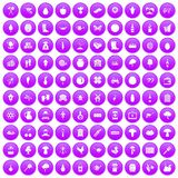 100 farming icons set purple. 100 farming icons set in purple circle isolated on white vector illustration Royalty Free Illustration