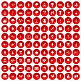 100 farming icons set red. 100 farming icons set in red circle isolated on white vector illustration Royalty Free Stock Image