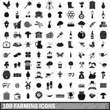 100 farming icons set, simple style Stock Photography