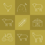 Farming icons set. Vector agriculture, farming line icons. Barn wheat chicken cow sheep pig hay tractor horse Royalty Free Stock Images