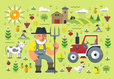 Farming Illustration. Flat style illustration of farmer with a pitchfork surrounded with various farming elements: fruits and vegetables, crops, tractor, farm stock illustration