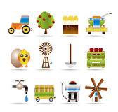 Farming industry and farming tools icons Royalty Free Stock Image