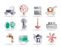 Farming industry and farming tools icons Stock Photography