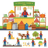 Farming infographic elements. Cultivation of organic products on the farm. Farmer produce shopkeeper. Fresh fruits and Stock Image